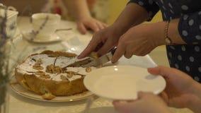 Las mujeres cortan la torta almacen de video