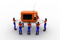 las mujeres 3d llevan la televisión Imagen de archivo