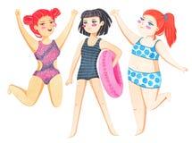 Las mujeres de diversa figura tipo y tamaño se vistieron en trajes de baño Sistema positivo del concepto del cuerpo Cada cuerpo e libre illustration