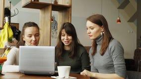 Las mujeres de los colegas discuten proyecto común en café usando un ordenador portátil almacen de video