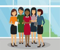 Las mujeres de negocios diversas agrupan la situación y la sonrisa en la oficina stock de ilustración