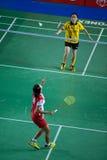 Las mujeres del bádminton escogen la competencia. Imagenes de archivo