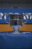 Las mujeres del US Open escogen el trofeo presentado en la ceremonia 2013 del drenaje del US Open Foto de archivo