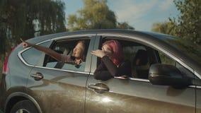 Las mujeres diversas admiran la visión desde la ventanilla del coche en la puesta del sol almacen de metraje de vídeo