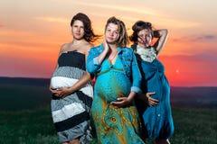 Las mujeres embarazadas están en la puesta del sol Imagenes de archivo