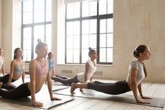 Las mujeres entonadas practican yoga en las esteras en gimnasio foto de archivo