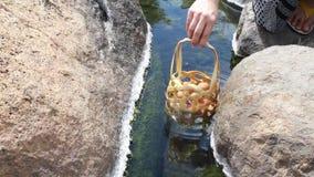Las mujeres están haciendo los huevos onsen en la fuente caliente natural en la provincia de Lampang almacen de metraje de vídeo