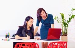 Las mujeres hermosas discuten negocio en el trabajo Foto de archivo libre de regalías