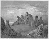 Las mujeres israelitas están de luto con la hija de Jephthah ilustración del vector
