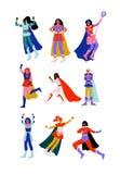Las mujeres jovenes en trajes y cabos del super héroe fijaron, los caracteres estupendos hermosos de las muchachas en diverso ej stock de ilustración