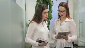 Las mujeres jovenes son el hablar, colocándose en compañía grande dentro almacen de video