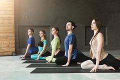 Las mujeres jovenes y los hombres en yoga clasifican, relajan actitud de la meditación imagen de archivo