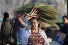 Las mujeres no identificadas con la hierba de escobas florecen en su cabeza Fotografía de archivo