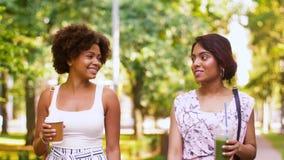 Las mujeres o los amigos felices que caminan a lo largo de verano parquean almacen de metraje de vídeo
