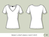 Las mujeres ponen en cortocircuito la camiseta del cuello en v de la manga Plantilla para el diseño, fácilmente editable por capa Imágenes de archivo libres de regalías