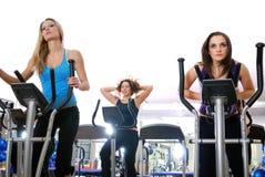 Las mujeres que se resuelven en el giro bikes en la gimnasia Imagen de archivo libre de regalías