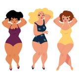 Las mujeres regordetas, curvy, muchachas, tamaño extra grande modelan en trajes de natación libre illustration