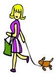 Las mujeres van a hacer compras con el perro Foto de archivo libre de regalías