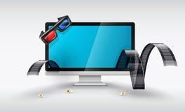 Las multimedias exhiben para las películas de observación en línea stock de ilustración