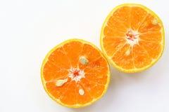 Las naranjas cortan, rebanada de naranjas frescas contra en el backgrou blanco Imagenes de archivo