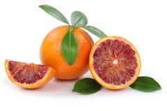 Las naranjas de la fruta de la naranja de sangre cortan las rebanadas aisladas en blanco foto de archivo libre de regalías
