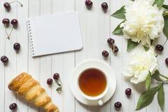 Las natillas del capítulo apelmazan la taza de té de la libreta de la peonía de las flores de la cereza Copie el espacio Flatlay Fotos de archivo