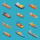 Las naves del tanque del vector del bulto del aceite del petrolero o los barcos de carga isométricos transportan y transporte iso Fotografía de archivo