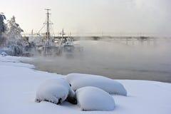 Naves en el parque del invierno Fotografía de archivo libre de regalías