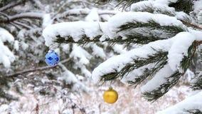 Las nevadas en el invierno en el bosque, rama con un juguete de la Navidad se sacuden en el viento metrajes