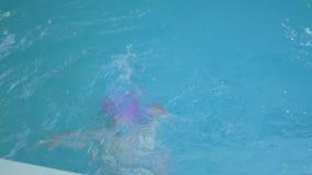 Las niñas nadan en la piscina almacen de video