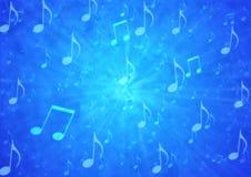 Las notas abstractas de la música arruinan en fondo azul borroso del Grunge stock de ilustración