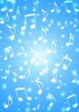 Las notas abstractas de la música arruinan en fondo azul borroso stock de ilustración