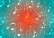 Las notas abstractas de la música arruinan en fondo rojo y azul borroso ilustración del vector