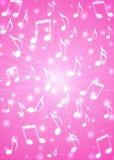 Las notas abstractas de la música arruinan en fondo rosado borroso stock de ilustración