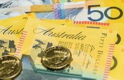 Las notas australianas del dinero se cierran para arriba Imagen de archivo libre de regalías