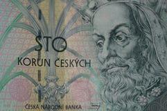 Las notas checas se cierran para arriba Fotos de archivo libres de regalías