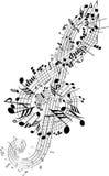 Las notas de la música torcieron en Clef Imagen de archivo