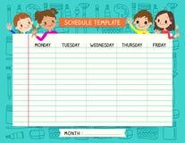 Las notas de la plantilla del horario del plan de la escuela fijaron para los niños Foto de archivo