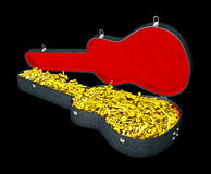 Las notas en la caja de la guitarra, ejemplo 3d aislaron negro Fotografía de archivo libre de regalías