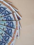 Las notas euro del EUR, UE de la unión europea con la copia espacian Imagenes de archivo