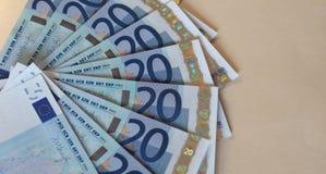 Las notas euro del EUR, UE de la unión europea con la copia espacian Fotos de archivo libres de regalías