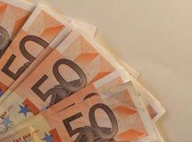 Las notas euro del EUR, UE de la unión europea con la copia espacian Foto de archivo libre de regalías