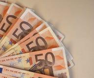 Las notas euro del EUR, UE de la unión europea con la copia espacian Fotografía de archivo