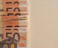 Las notas euro del EUR, UE de la unión europea con la copia espacian Imagen de archivo