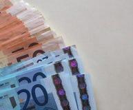 Las notas euro del EUR, UE de la unión europea con la copia espacian Foto de archivo
