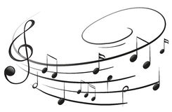 Las notas musicales con la G-clave Imagen de archivo libre de regalías