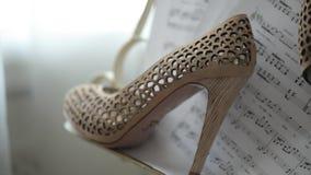 Las notas musicales de los zapatos hermosos nupciales de la boda sobre el lujo de papel se inclinaron el primer metrajes