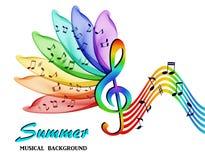 Las notas musicales sobre un fondo de un arco iris abstracto florecen ilustración del vector