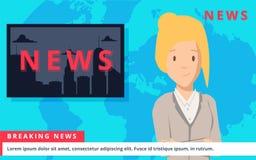 Las noticias anclan en fondo de las noticias de última hora de la TV Ejemplo del vector en diseño plano ilustración del vector