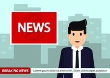 Las noticias anclan en fondo de las noticias de última hora de la TV Hombre en traje y lazo Ejemplo del vector en diseño plano ilustración del vector